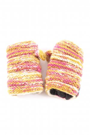 Sherpa Fingerless Gloves pink-light orange striped pattern casual look