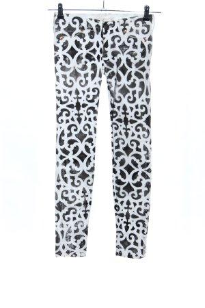 Röhrenjeans weiß-schwarz abstraktes Muster Casual-Look