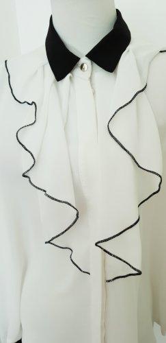 Rinascimento Camicetta con arricciature bianco-nero Chiffon