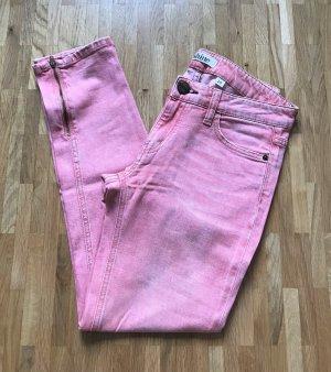 Shine Jeans Damen Röhren Hose W25 XS Low Waist Denim Rosa Slim Fit Skinny Chino