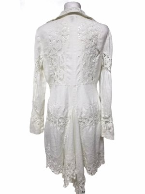 Shine New York Leinen Spitzen Mantel Weiß  Damen L