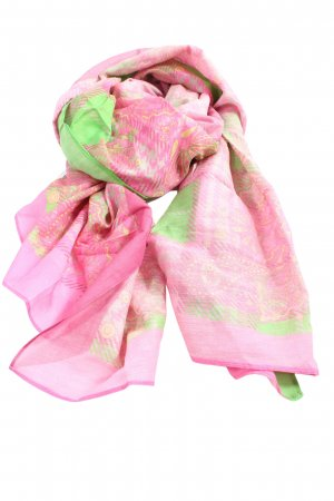 SHINGORA Sommerschal pink-grün abstraktes Muster Elegant