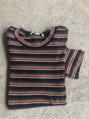 H&M Prążkowana koszulka pomarańczowy-ciemnoniebieski
