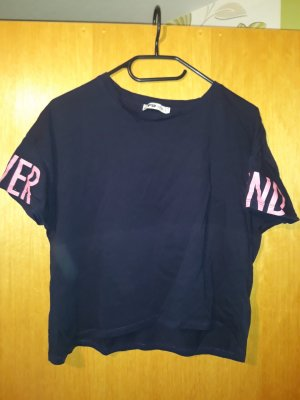 FB Sister Cropped shirt neonroos-donkerblauw