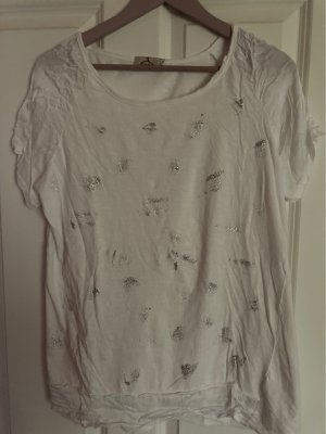 Made in Italy Oversized shirt wit-zilver