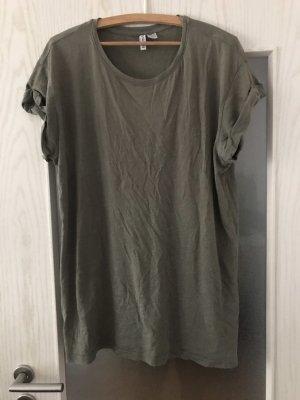 devided Long Shirt green grey