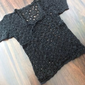 Crochet Shirt black wool