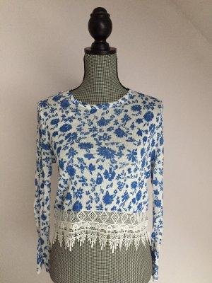 H&M Top en maille crochet blanc-bleu