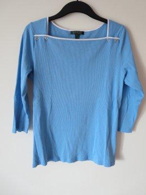 Lauren by Ralph Lauren Geribd shirt blauw-wit Katoen