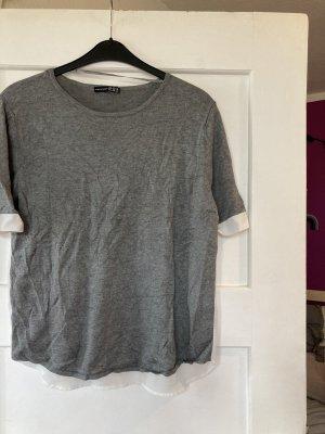 Shirt 3/4 grau weiß Bluse 36 38