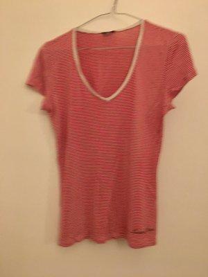 Armani Jeans Shirt basique rouge fluo-blanc