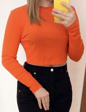 Koszulka z dekoltem w łódkę ciemny pomarańcz