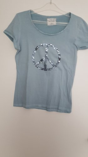 Shirt 40/42 verwaschener Look hellblau mit  silberfarbener Pailettenapplikationn