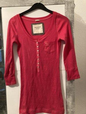 Abercrombie & Fitch V-Neck Shirt magenta cotton