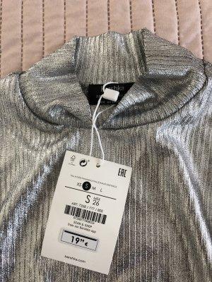 Bershka Camisa de cuello de tortuga color plata