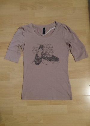Flame T-shirt imprimé noir-vieux rose tissu mixte