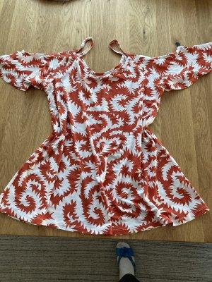 Carmen shirt oranje-wolwit