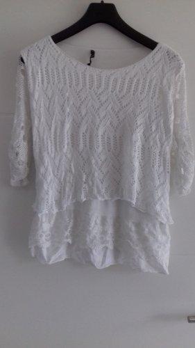 Camisa de malla blanco