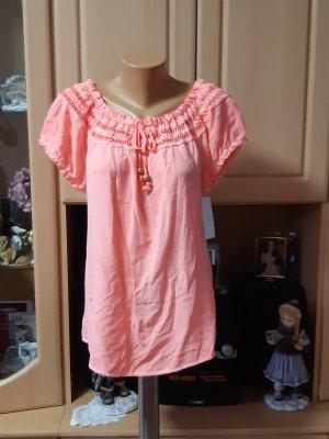 Made in Italy Koszula typu carmen różowy neonowy