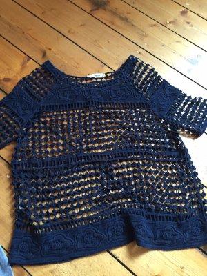 Mango Crochet Shirt dark blue