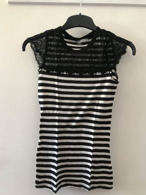 H&M Mesh Shirt black-white