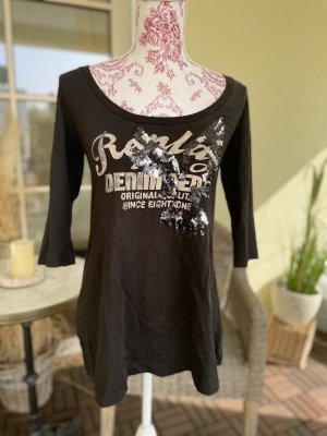 Replay T-shirt imprimé gris anthracite-noir