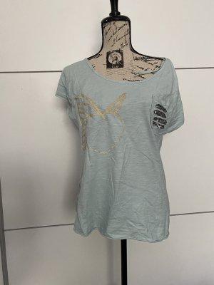 Unikat Oversized Shirt light grey-baby blue cotton