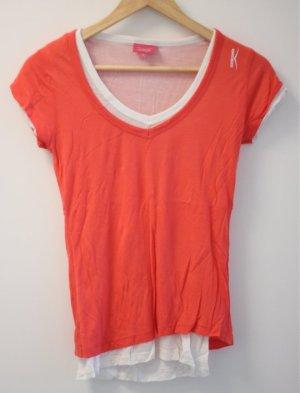 Venice beach Camisa con cuello V naranja neón