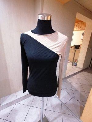 Amisu Prążkowana koszulka czarny-kremowy