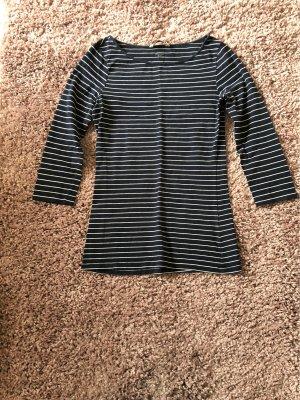 H&M Boatneck Shirt white-dark blue