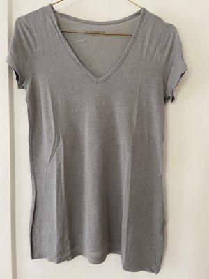 All Saints Camisa con cuello V gris Algodón