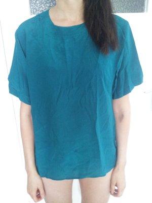 Oversized shirt turkoois Zijde