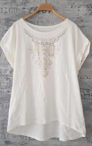 Anne L. Camiseta estampada blanco-beige