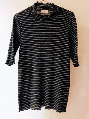 Anthropologie Short Sleeve Sweater white-black