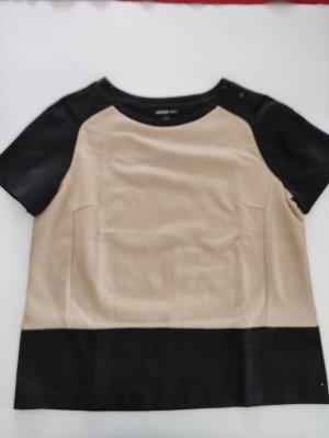 Mango Basic Shirt black-beige cotton