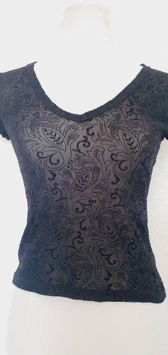 Shirt Ausbrenner Muster schwarz Gr 36