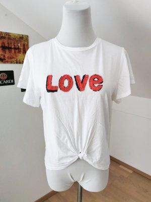 Shirt Baumwolle weiß love Aufdruck S