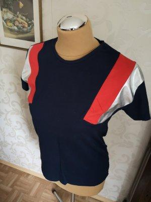 Shirt Baumwollmix Colorblocking mit Silber 34 36 Größe 164