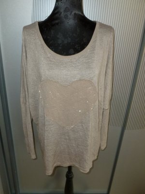 Shirt beige Herz Pailletten Made in Italy