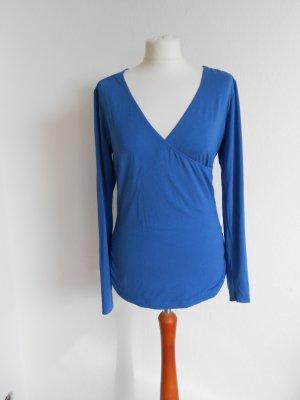 Shirt blau langarm mit V-Ausschnitt