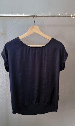 Shirt blau More&More Bluse Basicshirt Basictop Top Seide