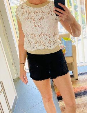 Blugirl Blumarine Koronkowy top w kolorze białej wełny-beżowy