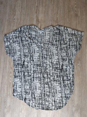 Shirt Bluse Amisu XS S M oversized schwarz weiß