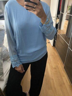 Shirt Bluse blau 42 XL spitze