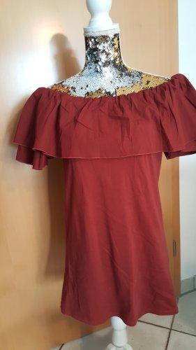 Shirt Bluse Longshirt oder als Minikleid Gr. XS dunkel rot