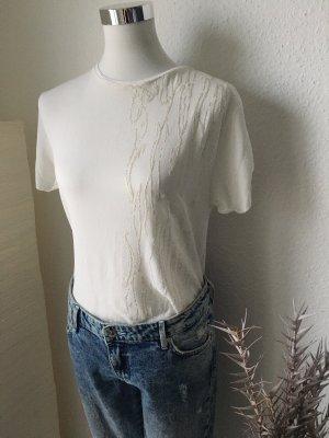 Shirt Bluse mit kleinen weißen Perlenapplikationen