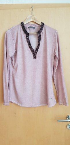 Shirt-Bluse mit Pailletten am Ausschnitt