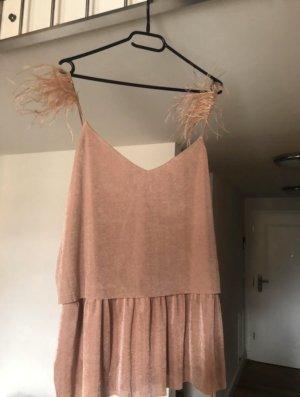 Shirt Bluse S rosa nude Federn