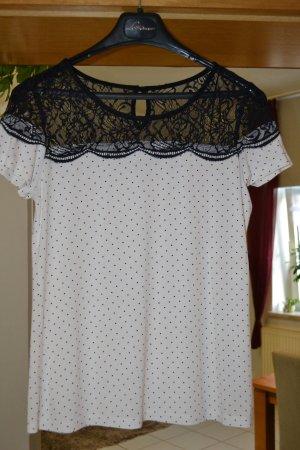 Shirt Bodyflirt Gr. 40/42  schwarz/weiß Punkte + Spitze