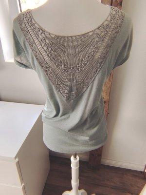 Only Crochet Shirt pale blue-sage green